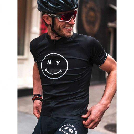 Giordana x Knowlita Men's New York Smiley Vero Pro Fit Short Sleeve Cycling Jersey - GICS19-SSJY-KNOW-NYBK