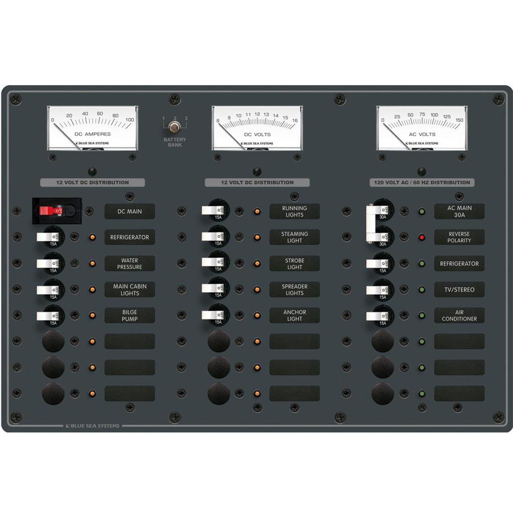 Blue Sea Systems Breaker Panel 16-12V 8-120VAC - 8084
