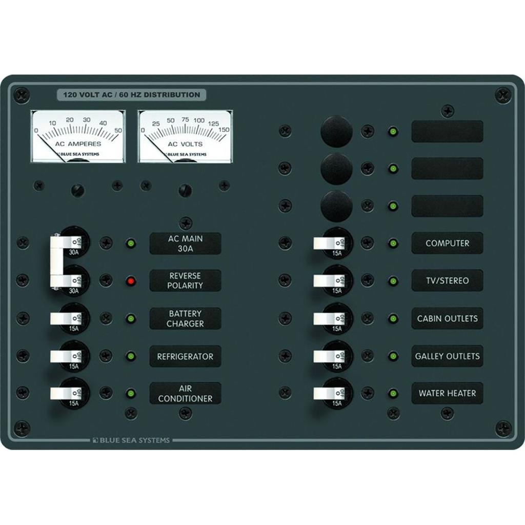 Blue Sea Systems Breaker Panel 120VAC 13 Pos - 8076