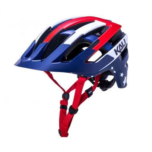 Kali Protectives Adult Interceptor MTB Cycling Helmet - Patriot Matte Red/White/Blue - 024132011