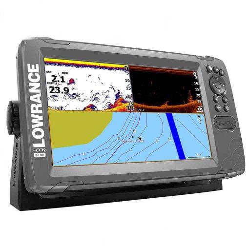"Lowrance HOOK -9 9"" Chartplotter/Fishfinder SplitShot Transom Mount Transducer with Nav+ Chart - 000-14298-001"