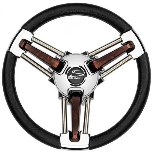 Schmitt & Ongaro Marine Burano Wheel 14 Inch 3/4 Inch Tapered Shaft Poly Stainless - PU105111-04