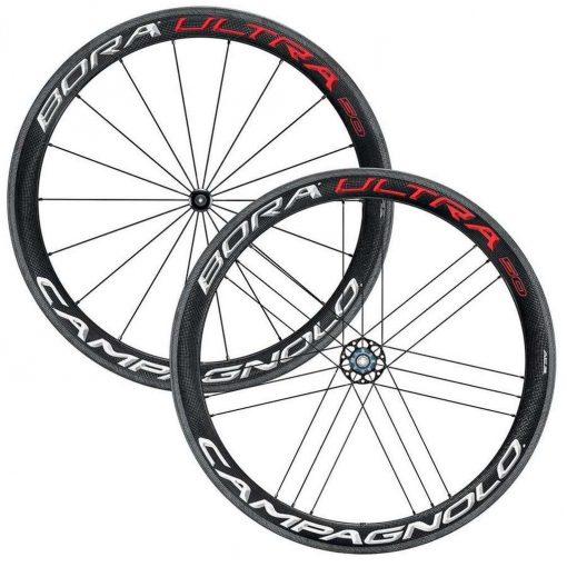 Campagnolo Bora Ultra 50 Bright Clincher Bicycle Wheel Set - 700C, F: 18, R: 21 spokes, QR, F: 100, R: 130, Campagnolo -