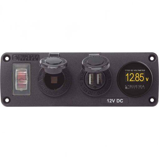Blue Sea 4366 Accessory Panel 12V Socket - Dual USB & - 4366