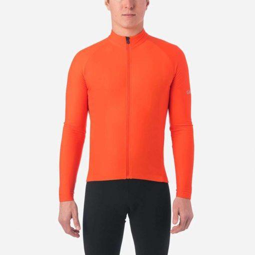 Giro Men's Chrono Thermal Long Sleeve Cycling Jersey - Vermillion - 710701