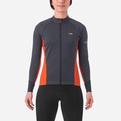 Giro Women's Chrono Pro Windbloc Long Sleeve Cycling Jersey - Vermillion - 71070