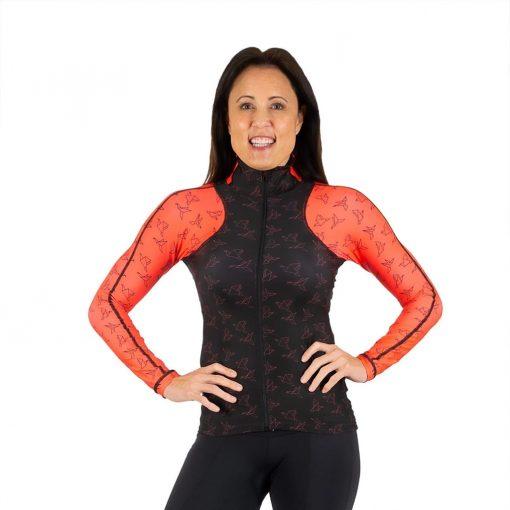 Shebeest Women's Virtue In Flight-Black/Watermelon Long Sleeve Cycling Jersey - 3515-IFBW