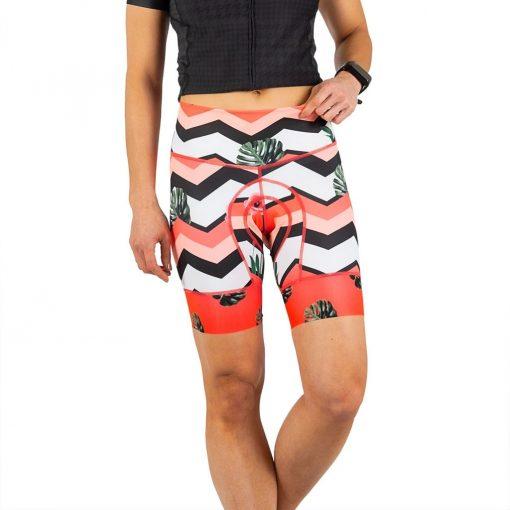 Shebeest Women's Petunia Chevron Tropic- Watermelon Cycling Short - 3098-CTWM