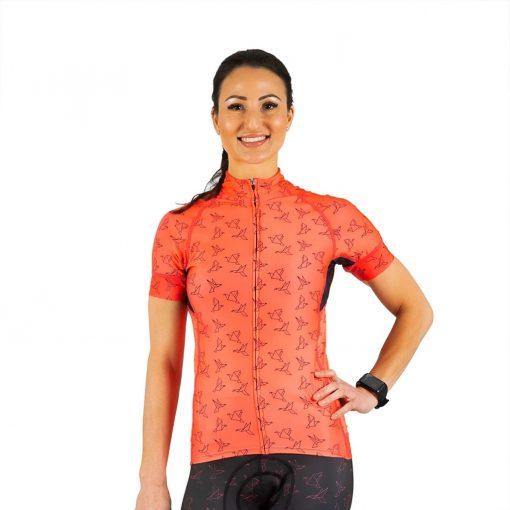 Shebeest Women's Divine In Flight-Watermelon/Black Short Sleeve Cycling Jersey - 3238-IFWB