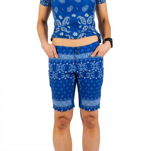 Shebeest Womens Skinny Americano Kerchief-Ultra Blue Cycling Short - 3106-JFBK