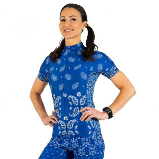 Shebeest Women's Divine Short Sleeve Cycling Jersey - Kerchief Ultra Blue - 3238-KFUB