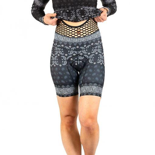 Shebeest Women's Petunia Kerchief-Black Bib Cycling Short - 3099-KFBK