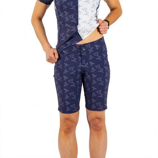 Shebeest Womens Skinny Americano In Flight-Navy Cycling Short - 3106-IFNV