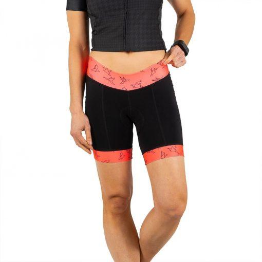 Shebeest Women's Triple S Ultimo In Flight-Watermelon Cycling Shorts - 3047-IFWM