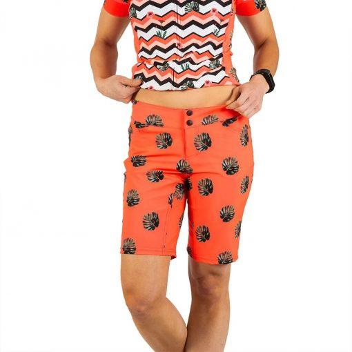 Shebeest Womens Skinny Americano Split Leaf-Watermelon Cycling Short - 3106-SLWM
