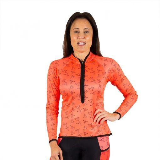 Shebeest Women's Bellissima In Flight-Watermelon Long Sleeve Cycling Jersey - PLUS SIZE - 3511P-IFWM