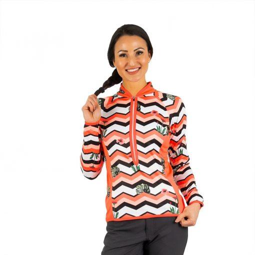 Shebeest Women's Bellissima Chevron Tropic- Watermelon Long Sleeve Cycling Jersey - PLUS SIZE - 3511P-CTWM