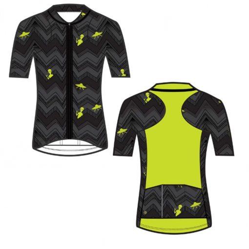 Shebeest Women's Sheena Short Sleeve Cycling Jersey - Janet Black/Electric Lime - 3239-JTBE