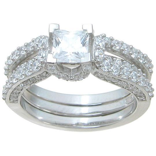 .925 Sterling Silver 1.75 Ct Interlocking Modern Ring *Sz 7* Women's Wedding Band Set