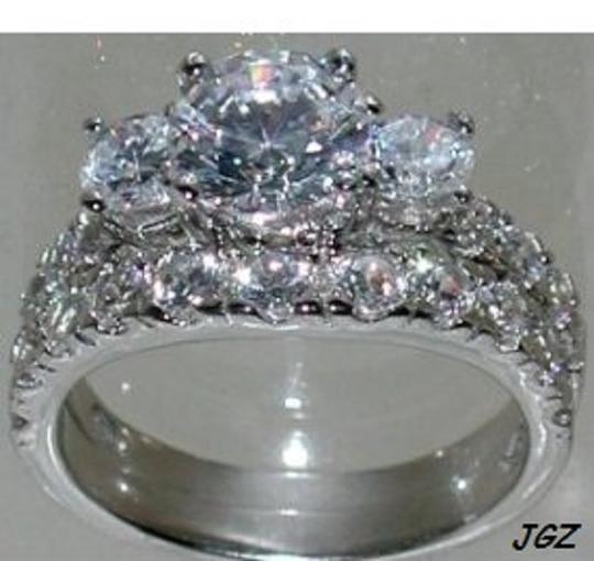 .925 Sterling Silver - 3 Stone Engagement-Bridal Set * * Engagement Ring