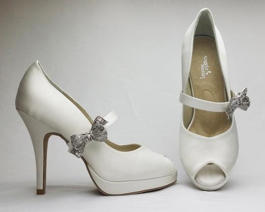 Angela Nuran  Diamond/Silk White Dyeable Tribeca (7.5-1) Platforms