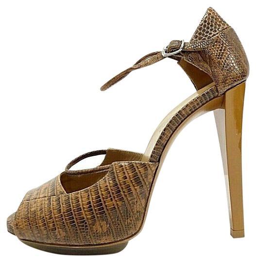 Balenciaga  Brown Snake-Print Peep-Toe Sandals Heels 8 It Platforms