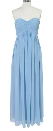 Blue Chiffon Strapless Sweetheart Long Feminine Bridesmaid/Mob Dress