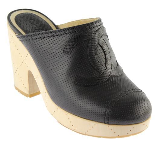 Chanel  Black Perforated Cc Cap Toe Mules/Slides