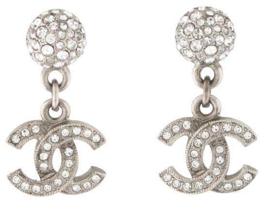 Chanel  Silver Crystal Twist Interlocking Cc Logo Ball Drop Dangling Classic Stud 15s Earrings