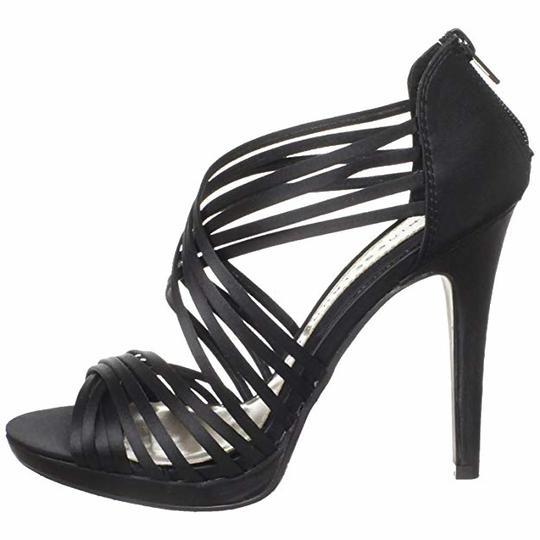 Chinese Laundry  Black Ivie Satin Strappy Heels Platforms