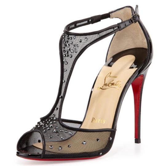 Christian Louboutin  Black Patinana Strass Mesh Peep Toe Stiletto Pump Formal Shoes