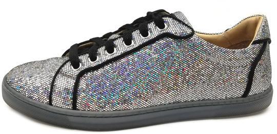 Christian Louboutin  Silver/Black Trim 'Seava' Disco Ball Glitter Women's Sneakers