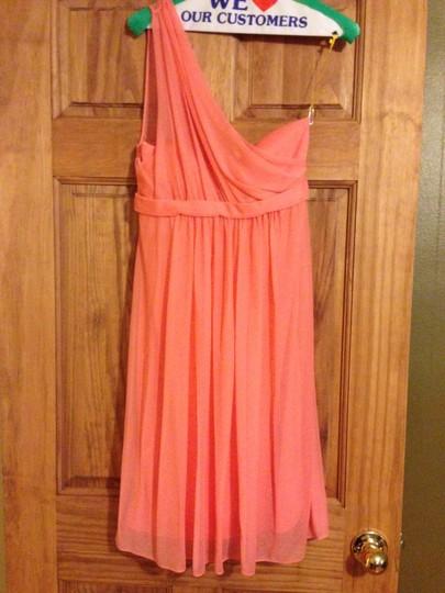 David's Bridal  Coral Reef Chiffon F15607 Modern Bridesmaid/Mob Dress