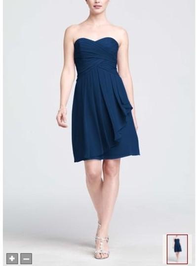 David's Bridal  Marine Chiffon Short Crinkle Front Cascade Style F14847 Feminine Bridesmaid/Mob Dress