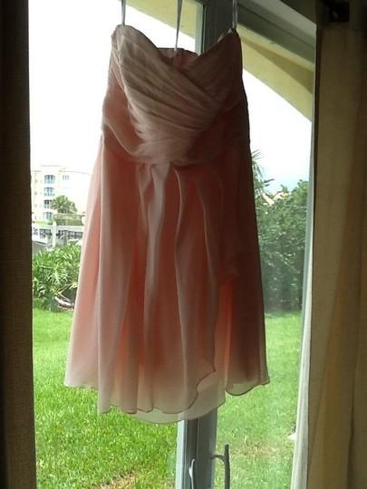 David's Bridal  Petal Pink Chiffon F14847 Traditional Bridesmaid/Mob Dress