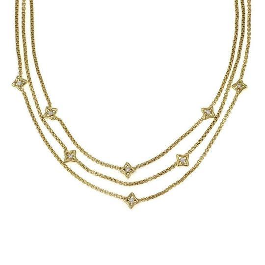 David Yurman  #64498 Quatrefoil Diamond 18k Yellow Gold Triple Strand Necklace