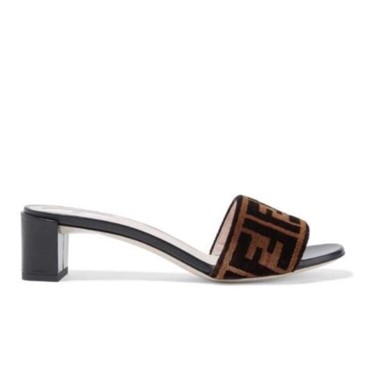 Fendi  Logo Velvet Leather Heels Mules/Slides