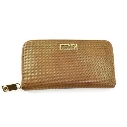 "Fendi  Metallic Brown Leather & ""Ff"" Logo Zip-Around (Pq) Wallet"