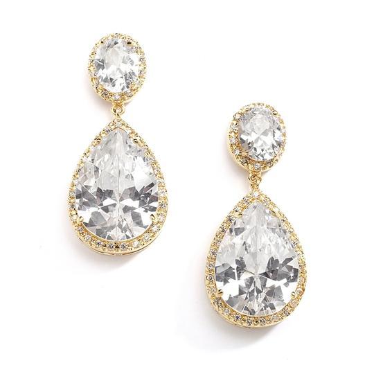 Bridal Shoppe  Cz/Gold Pear Shaped Pierced Earrings