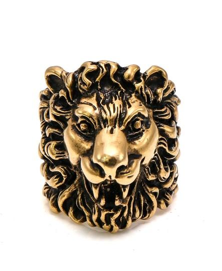 Gucci  Age Gold Tone Finish Lion Head Ring