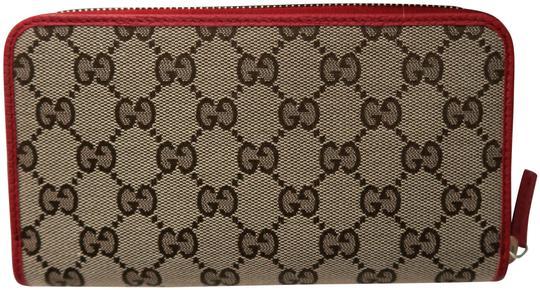 Gucci  Beige Ebony Rosso Gg Guccissima Canvas Zip Around Wallet