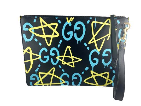 Gucci  Black Ghost Apollo Stars Print Pouch Wallet