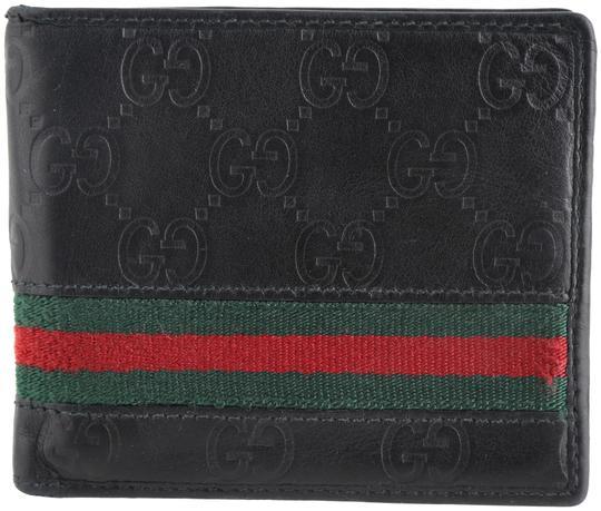 Gucci  Black Logo Leather Guccissima Web Bi-Fold Wallet