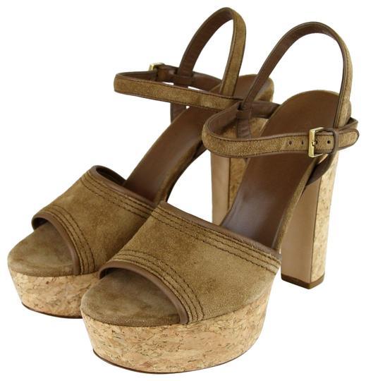 Gucci  Brown Danielle Suede Cork Sandal 38/8 309974 Platforms