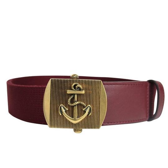 Gucci  Burgundy Military Fabric Anchor Brass Buckle Belt 375191 6148 Groomsman Gift