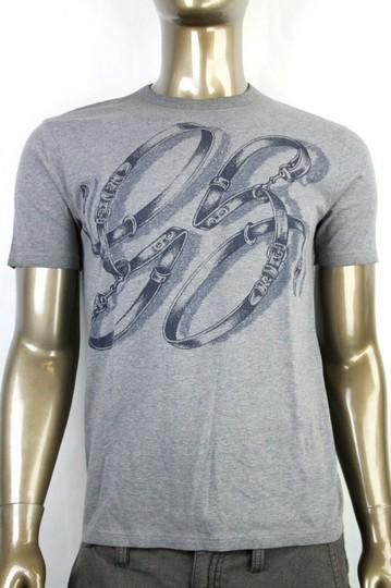 Gucci  Grey Horsebit Men's Gg Logo Belt Graphic T Top 3xl 337660 1066 Shirt