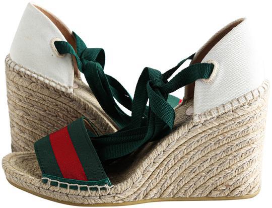 Gucci  White Lilibeth Grg Anklewrap Espadrille Wedges