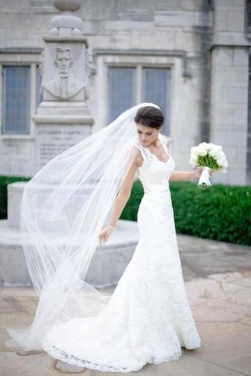 Ieie's Bridal  White Long W New W/ Tags Plain Single Tier Chapel Length Tulle With Raw Edge | Vg1030 Bridal Veil