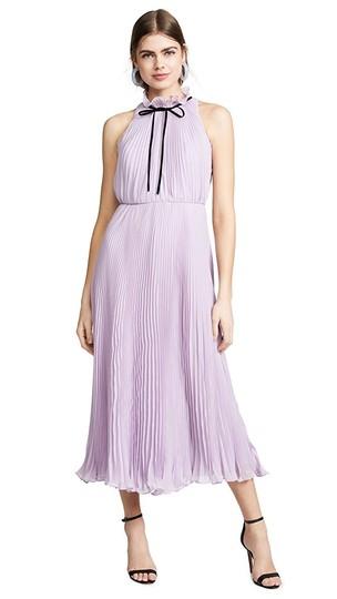 JILL JILL STUART  Lilac Pleated Tie Neck Gown Feminine Bridesmaid/Mob Dress