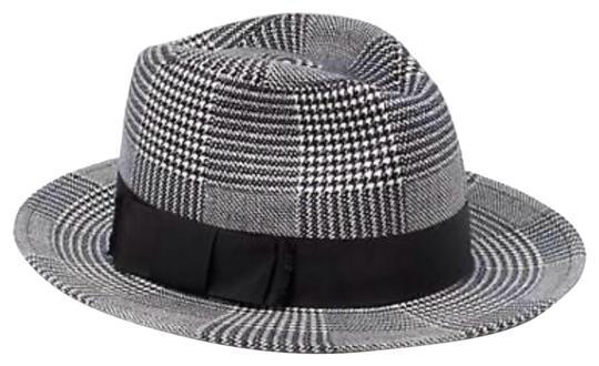 Kate Spade  Black Grey White Mod Plaid Trilby In Hat